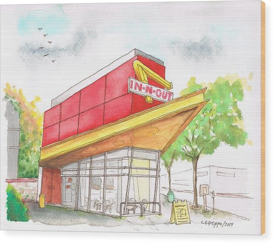 In'n Out Burger In San Francisco - Calfornia Wood Print