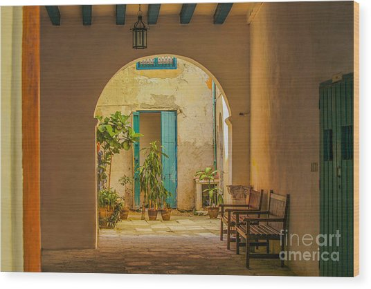 Inner Courtyard In Caribbean House Wood Print