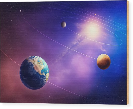 Inner Solar System Planets Wood Print
