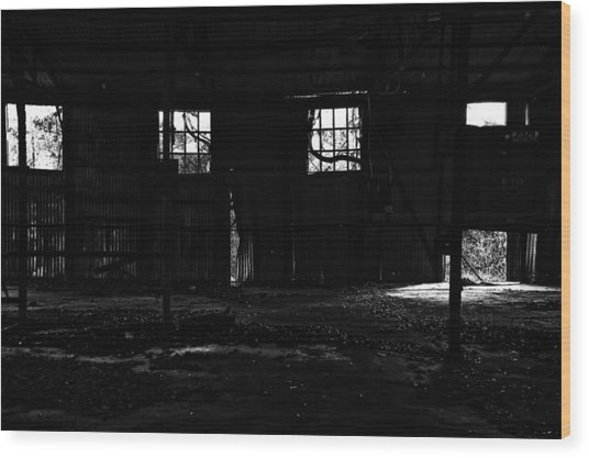 Inside Old Warehouse Wood Print