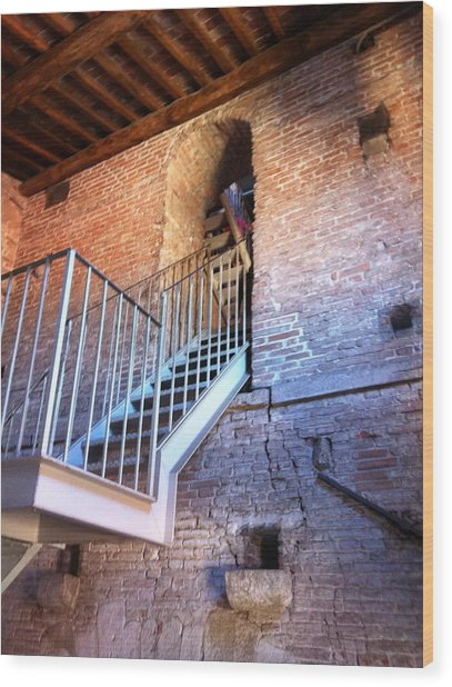 Inside Stairway Of Old Tower In Lucca Italy Wood Print