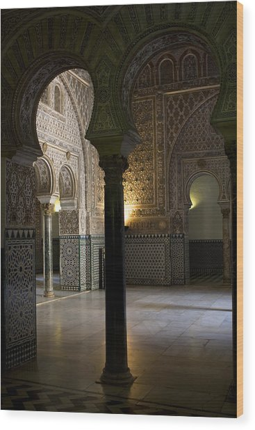 Inside The Alcazar Of Seville Wood Print