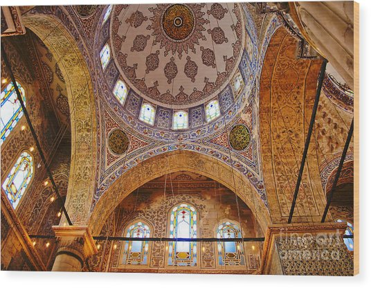 Inside The Blue Mosque Wood Print