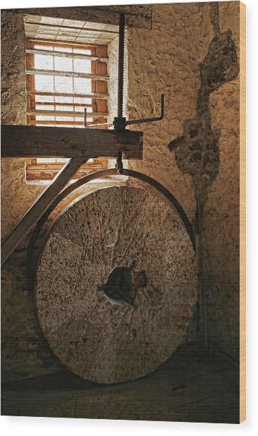 Inside The Gristmill Wood Print