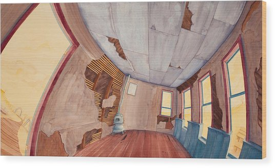 Wood Print featuring the painting Inside The Old School House IIi by Scott Kirby