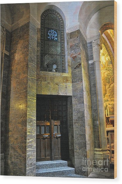 Inside The Rosary Basilica In Lourdes Wood Print by Graham Taylor