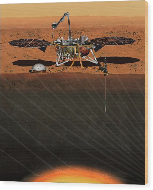 Insight Lander On Mars Wood Print by Nasa/jpl-caltech