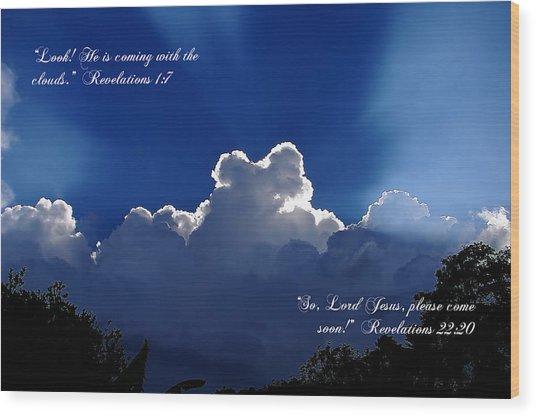 Inspirational Clouds Wood Print
