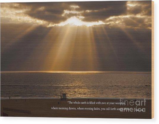Inspirational Sun Rays Over Calm Ocean Clouds Bible Verse Photograph Wood Print