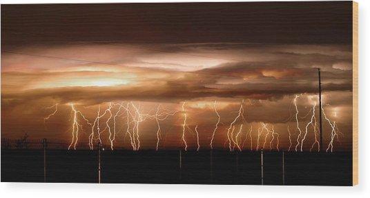 Intense Electrical Storm Wood Print