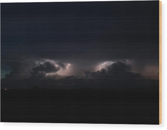 Intense Lightning Wood Print