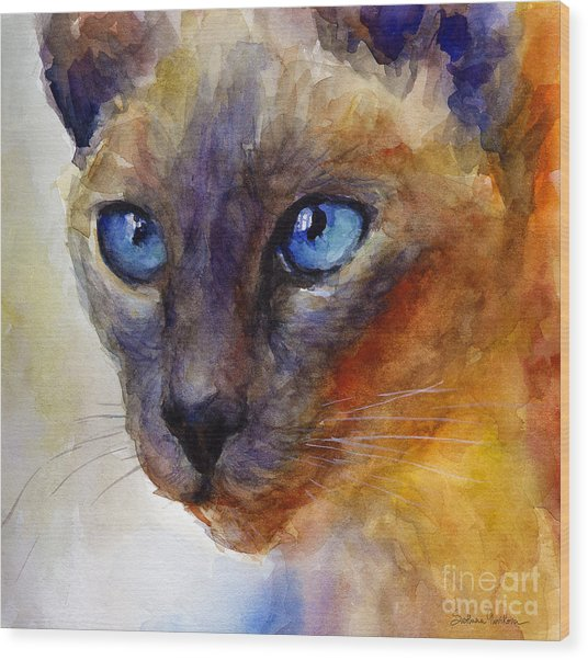 Intense Siamese Cat Painting Print 2 Wood Print