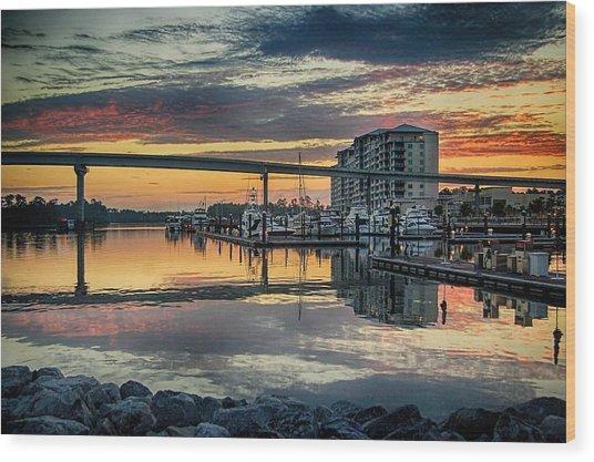 Intercoastal Waterway And The Wharf Wood Print