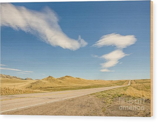 Interesting Clouds In Big Sky Country Wood Print