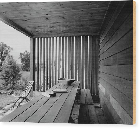 Interior End Of Porch With Vertical Louvers Wood Print