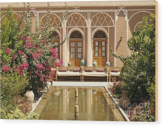 Interior Garden With Pond In Yazd Iran Wood Print