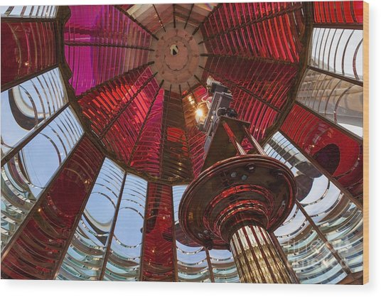 Interior Of Fresnel Lens In Umpqua Lighthouse Wood Print
