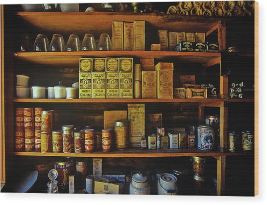 Interior Of General Store With Goods Wood Print