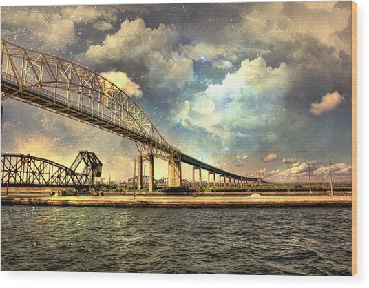 International Bridge Sault Ste Marie Wood Print