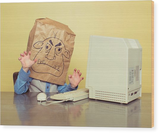 Internet Troll Is Mean At The Computer Wood Print by RichVintage