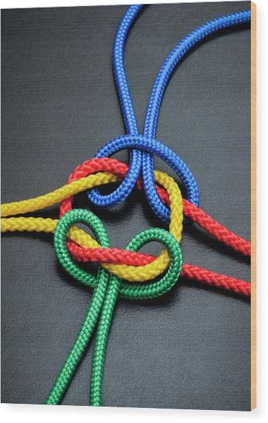 Intertwined Multicolored Ropes Wood Print by Jorg Greuel