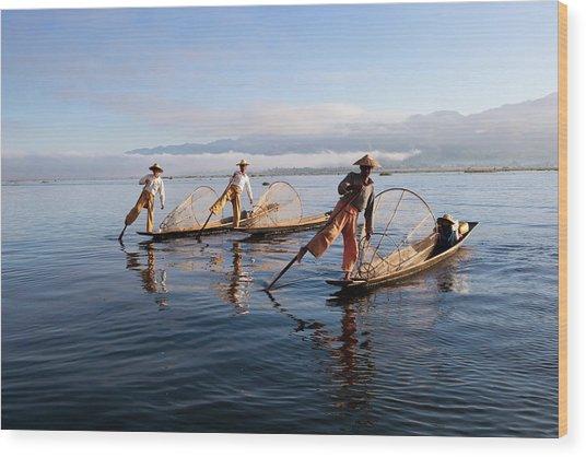 Intha Leg-rower Fishermen, Inle Lake Wood Print