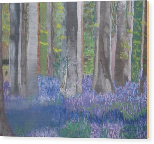 Into The Bluebell Wood Wood Print