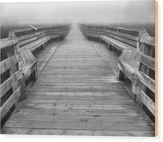 Into The Fog Wood Print