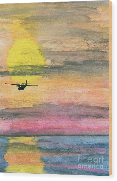 To The Unknown - Pby Catalina On Patrol Wood Print