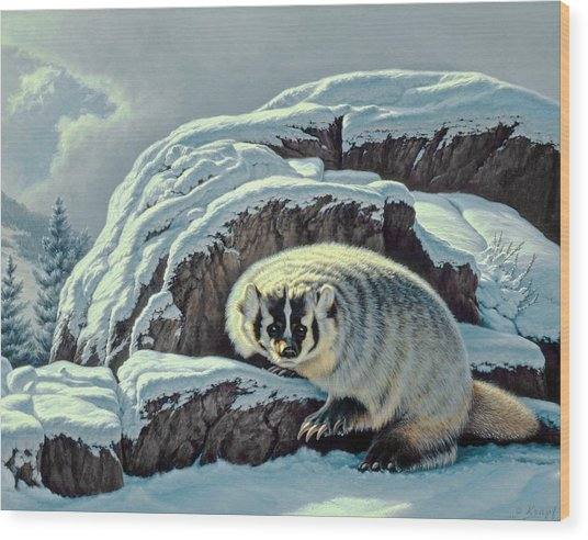 Intrusion -  Badger Wood Print