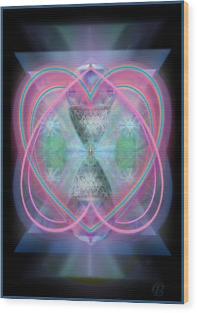 Intwined Hearts Chalice Enveloping Orbs Vortex Fired Wood Print by Christopher Pringer