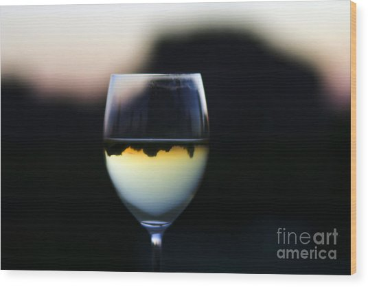 Inverted Landscape In Wine Glass Wood Print