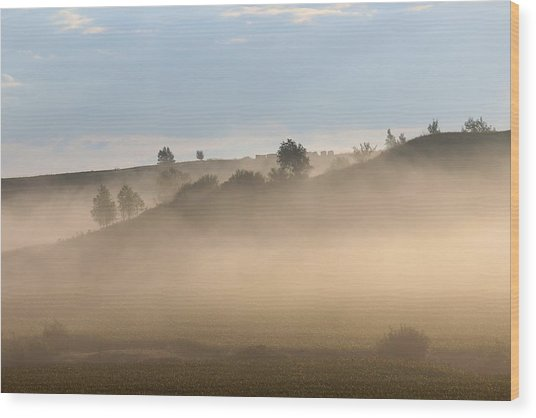 Iowa Morning Wood Print by Angie Phillips