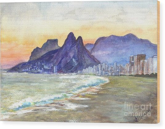 Sugarloaf Mountain And Ipanema Beach At Sunset Rio Dejaneiro  Brazil Wood Print