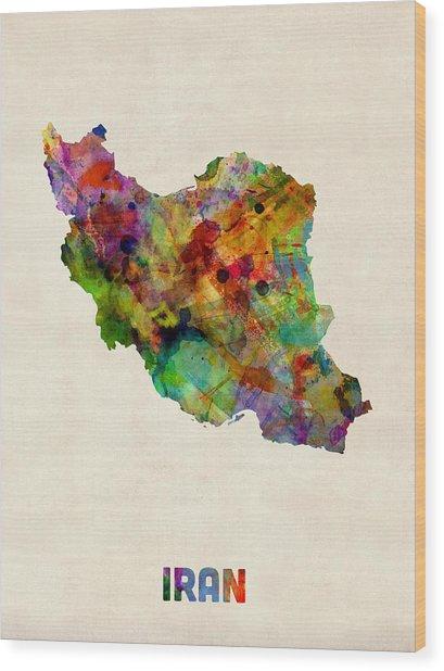 Iran Watercolor Map Wood Print by Michael Tompsett