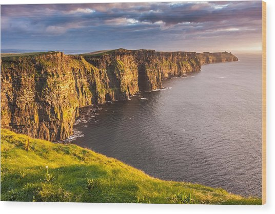 Ireland's Iconic Landmark The Cliffs Of Moher Wood Print