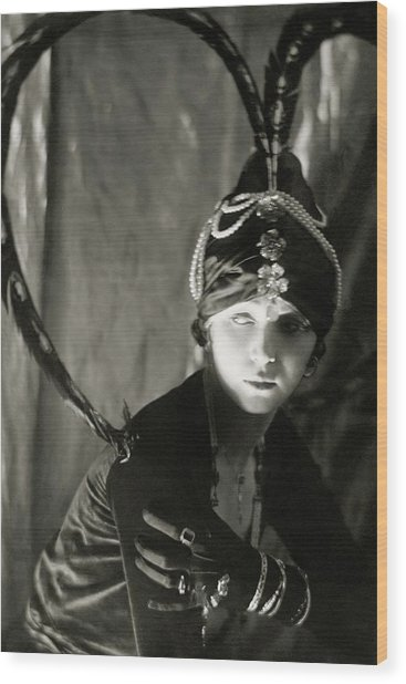 Irene Castle Wearing A Headdress Wood Print by Malcolm Arbuthnot