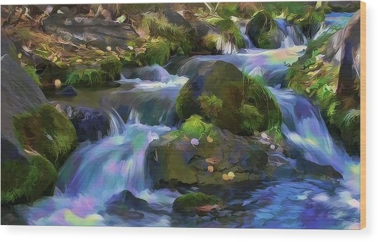 Iridescent Creek By Frank Lee Hawkins Wood Print