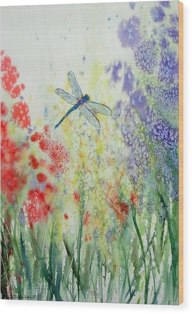 Iridescent Dragonfly Dances Among The Blooms Wood Print