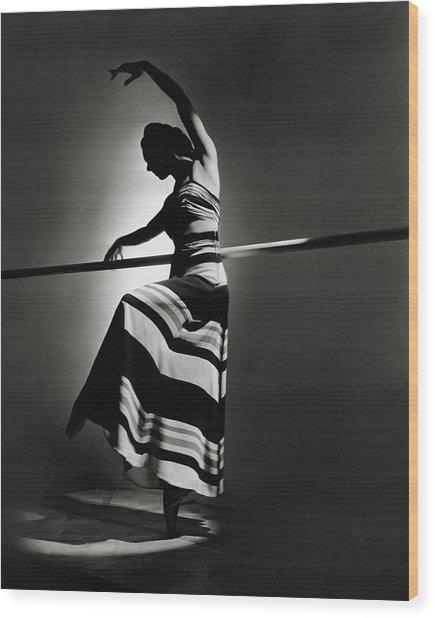 Irina Baronova Wearing A Stripes Wood Print