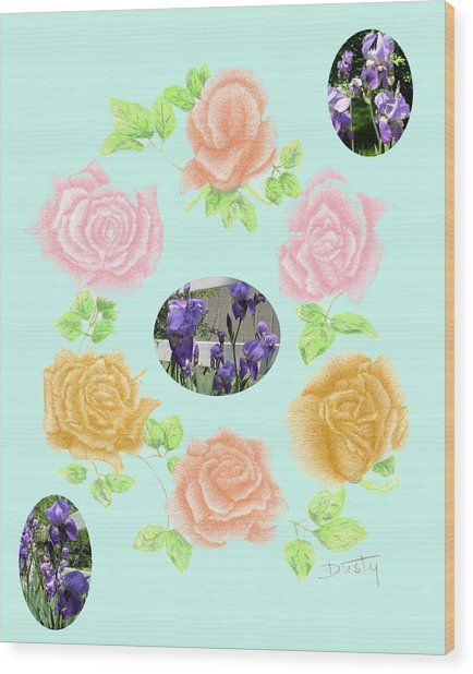 Iris Among Roses Wood Print by Dusty Reed