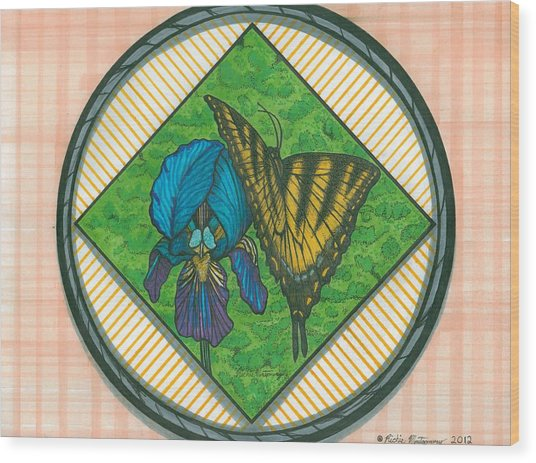 Iris And Butterfly Wood Print