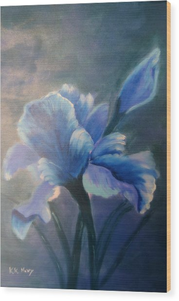 Iris Blue Wood Print