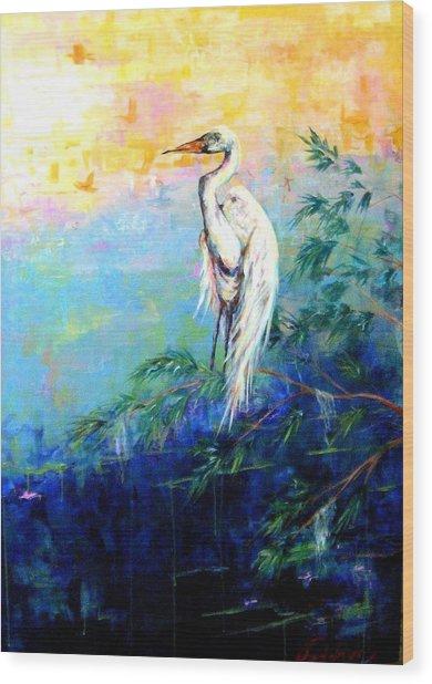 Iris Wood Print by Dawn Gray Moraga