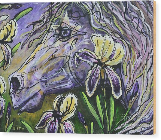 Iris Upon A Star Wood Print
