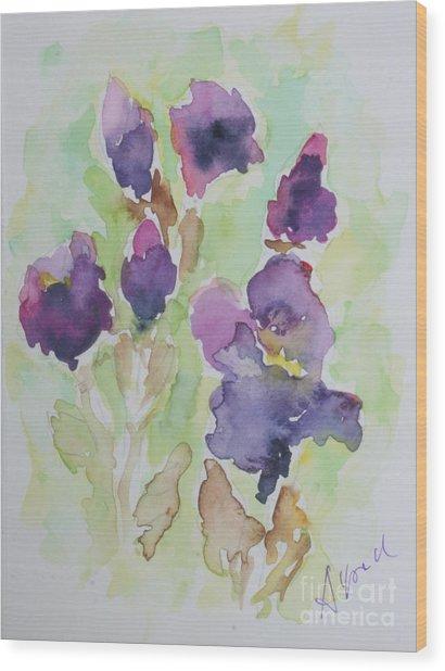 Irises Wood Print by Almo M