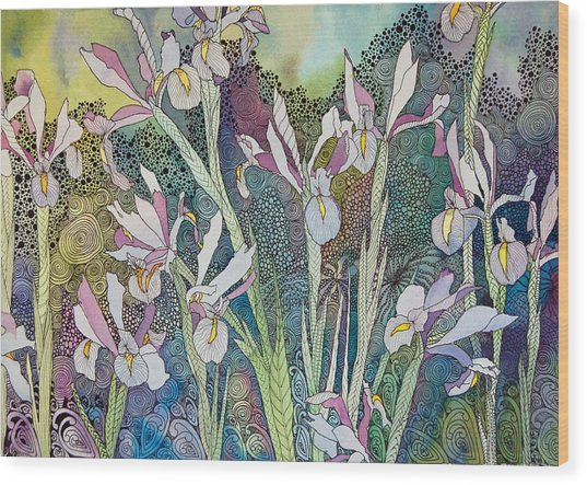 Irises And Doodles Wood Print