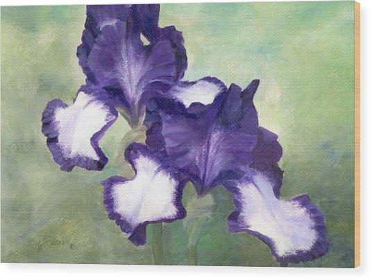 Irises Duet In Purple Flowers Colorful Original Painting Garden Iris Flowers Floral K. Joann Russell Wood Print