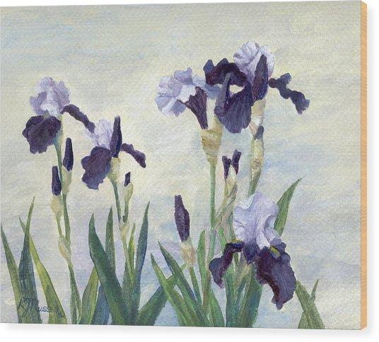Irises Purple Flowers Painting Floral K. Joann Russell                                           Wood Print