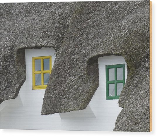 Irish Thatch Cottage Colored Windows Wood Print by Patrick Dinneen